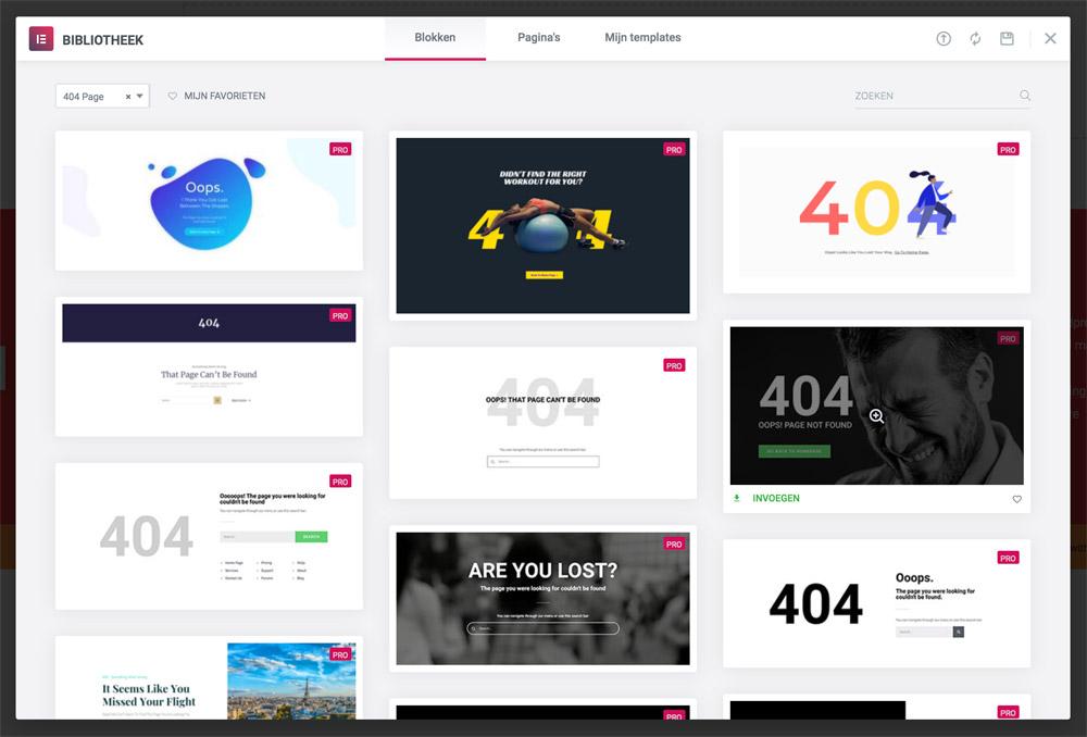 404 templates van Elementor