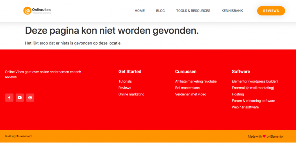 Standaard 404 pagina in WordPress