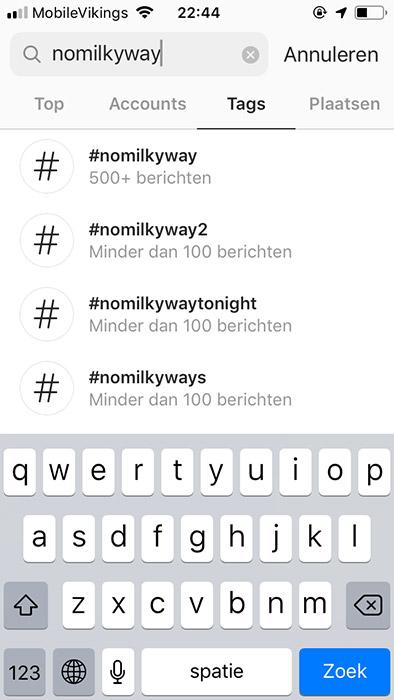 Instagram - zoeken op hashtag