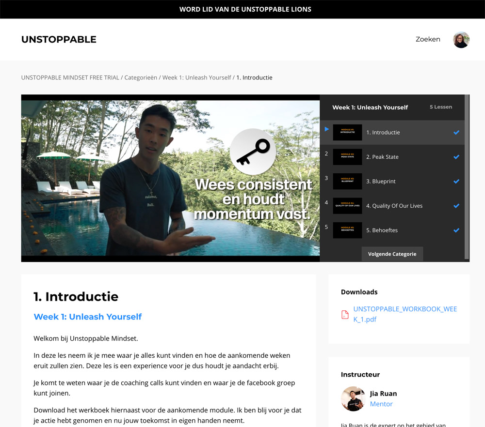 Unstoppable mindset - cursus review (Jia Ruan)