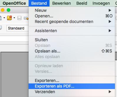 Ebook exporteren naar pdf Open office