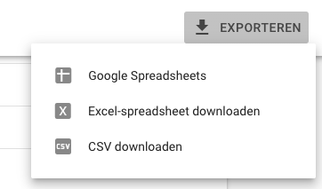 Interne links - google search console - downloaden