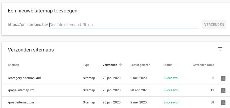 Sitemap indienen bij Google via Search Console