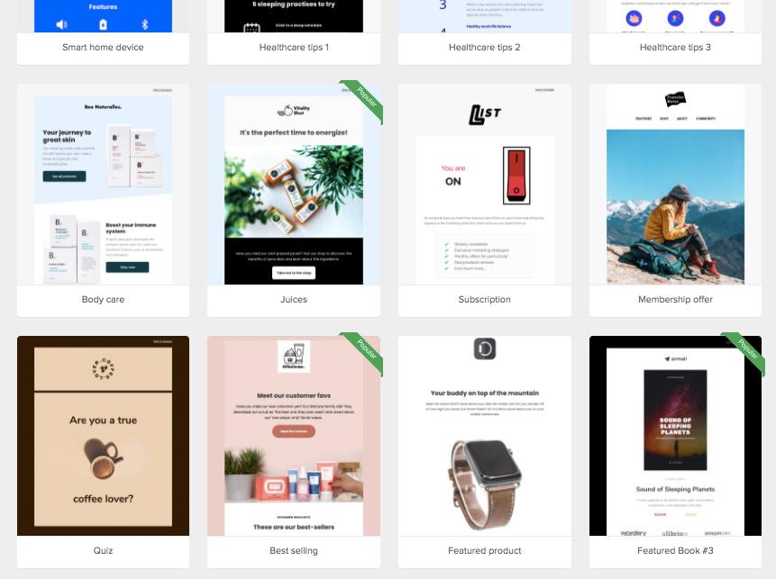 E-mail templates in Mailerlite