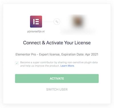 Elementor pro connecteren en licentie activeren.