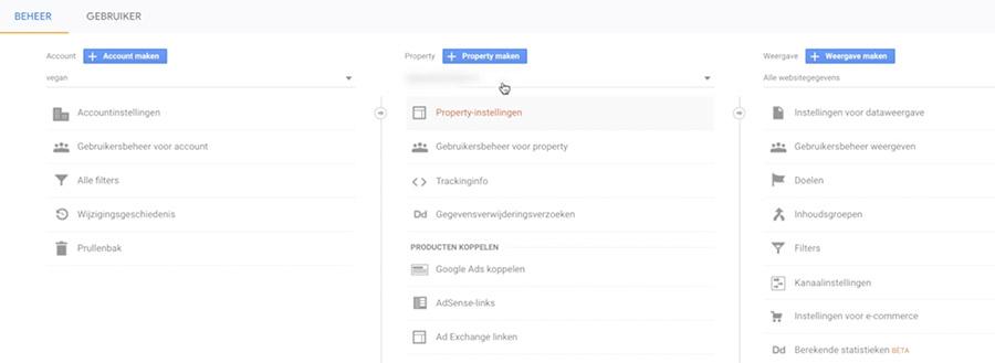 Google analytics aanmaken