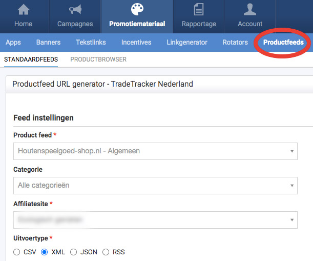 Datafeeds bij tradetracker
