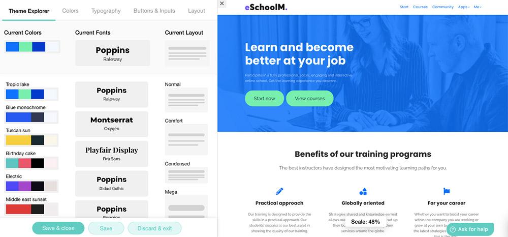 Layout van je website bepalen in Learnworlds.