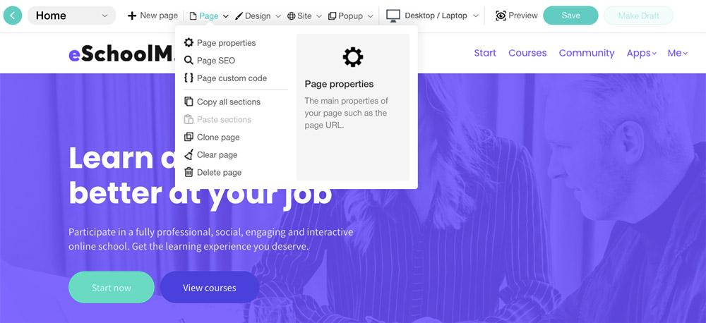 Instellingen website aanmaken in Learnworlds