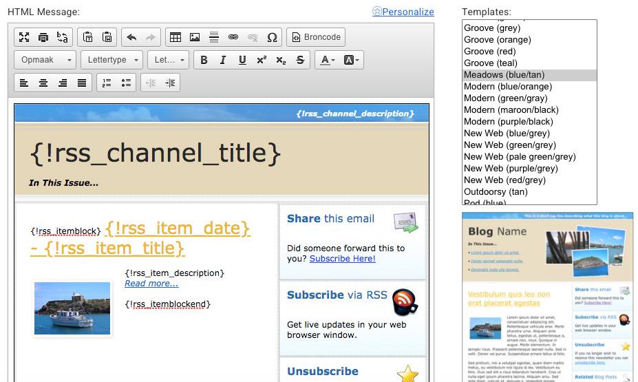 RSS feed blogs mailen