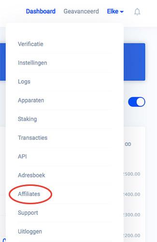 Bitvavo menu affiliates
